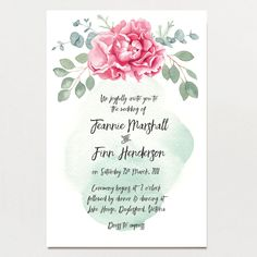 Description: Gorgeous detailed watercolour peony flower with eucalyptus foliage. Watercolour background wash completes the whimsical look of this beautiful invitation suite. Dimensions:  180 mm x 120 mm (7.1″ x 4.7″)