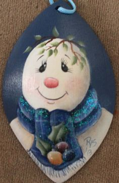 Christmas+Snowman+Hand+Painted+Wooden+by+SingleWitchDesigns,+$8.00