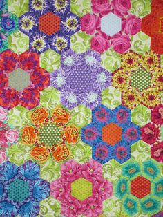 Hexagons with Kaffe Fabric