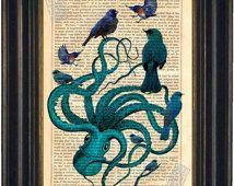 Exotiques Octopus couleur bleu avec bleu oiseaux altérés Art Antique gravure impression de Vintage Repurposed 1860 page