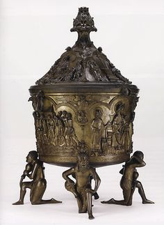 Baptismal Font (ca - copper alloy, cast in 8 pieces with scenes from the Old and New Testament - The big font cm.high) is supported by the personifications of the Four Rivers of Paradise - Hohe Domkirche Hildesheim, Germany Historical Artifacts, Ancient Artifacts, Romanesque Art, Early Middle Ages, King Art, Medieval Art, Medieval Crafts, Bronze, European History