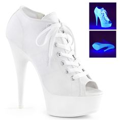 Pleaser Approximately 6 Inch Heel, 1 Inch Platform Open Toe Lace Up Front Canvas Sneaker Featuring Blacklight Reactive Platform Bottom, Full Inside Zip Closure White Platform Sneakers, White High Heels, Platform High Heels, Open Toe Booties, Lace Up Booties, Open Toe Sandals, Ankle Booties, Sneakers Fashion, Fashion Shoes