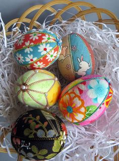 Kimekomi Easter Eggs  Set of 5 by Ornament Designs