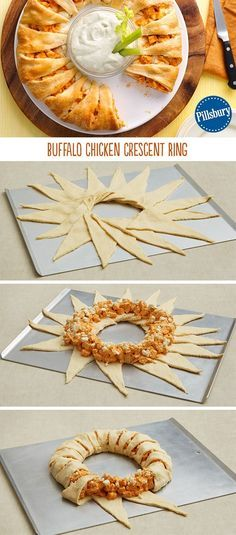 Serve up a crowd-pleaser with this Buffalo Chicken Crescent Ring! Incredibly easy to make with a harmony of spicy and cooling ingredients. Perfect for a weeknight dinner or easy appetizer.  Ingredients    4 oz cream cheese (half of 8-oz package), softened  1/4 cup hot sauce or red pepper sauce  2 1/2 cups chopped cooked chicken (1/2-inch pieces)  1 cup shredded Monterey Jack cheese (4 oz)  2 cans (8 oz each) Pillsbury™ refrigerated crescent dinner rolls  1/3 cup crumbled blue cheese