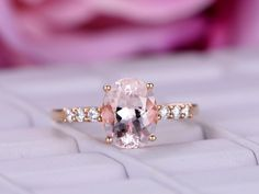 Oval Morganite Engagement Ring Moissanite Accent 14K Rose Gold 7x9mm - 6.5 / 14K Yellow Gold