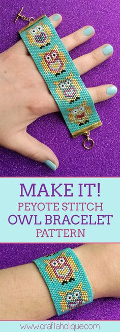 Peyote Stitch Pattern for Cute Owl Beaded Cuff Bracelet! Happy Beading from Craftaholique Peyote stitch addict? If you're ready for a new beadweaving project, take a look at this cute peyote owl beaded cuff bracelet pattern at Craftaholique! Owl Bracelet, Beaded Cuff Bracelet, Bead Loom Bracelets, Beaded Bracelet Patterns, Jewelry Patterns, Embroidery Bracelets, Peyote Bracelet, Wrap Bracelets, Peyote Stitch Patterns
