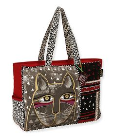 Black & Red Whiskered Cat Large Tote by Laurel Burch #zulily #zulilyfinds