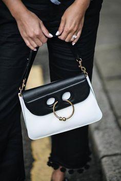 white nails, JW Anderson pierce Piercing bag in black white monochrome, street style