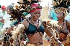 Cameroonian women perform folk dances in Cameroon