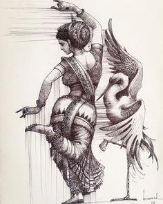 allsensesyoga — hinducosmos: Dance of Chilika Artist: Bijay. Girl Drawing Sketches, Art Drawings Sketches Simple, Dark Art Drawings, Girly Drawings, Black Pen Drawing, Abstract Pencil Drawings, Landscape Pencil Drawings, Dance Paintings, Indian Art Paintings