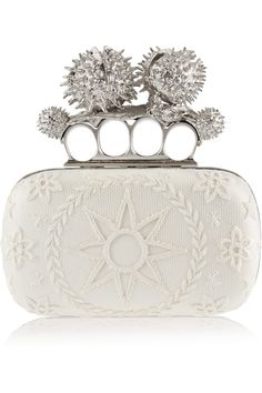 Alexander McQueen | Knuckle Duster Conker embellished satin box clutch |