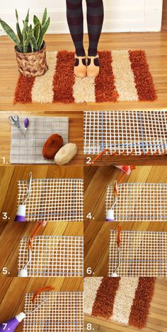 A tips and tricks tutorial for making a pom pom rug really fast! We give details about what pom pom rug backing to use, how to clean a pom pom rug, and how to make pom poms the right way so your rug lasts a long time. Crafts To Make, Home Crafts, Diy Home Decor, Diy Crafts, How To Make A Rug Diy, Homemade Rugs, Pom Pom Rug, Pom Poms, Latch Hook Rugs