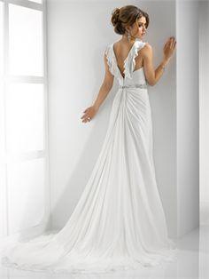 Deep V-neckline with fluttering ruffles Beaded Waist Zipper Chiffon Wedding Dress WD2133