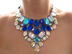 Blue and Crystal AB Rhinestone Bib Necklace, Blue and White Necklace, Jeweled Bib, Fantasy Statement, Dramatic Necklace