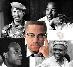 (Clockwise) Thomas Sankara, Martin Luther King, Amilcar Cabral, Kwame Nkrumah, Malcolm X (Centre)