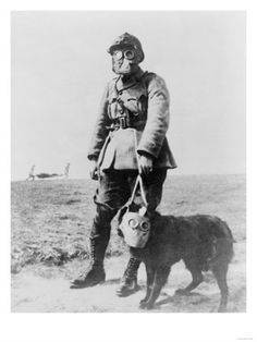 When we say uniforms we normally think of humans, and what they wear.  For example, boots, helmets, clothing, gas masks, and so on.  However, humans were not the only ones wearing some form of uniforms. In this picture we can see a World War 1 Sergeant wearing a gas mask, but his dog is also wearing a gas mask.  Dogs were often seen wearing gas masks as well.  This shows how crucial it was to stay protected from inhaling toxic things that could harm your or your dogs life.
