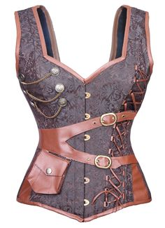 aaa598d22105a Authentic steel boned steam punk over bust corset