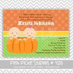 Twins in a Pumpkin Personalized Party Invitation-personalized invitation, photo card, photo invitation, digital, party invitation, birthday, shower, announcement, printable, print, diy,moving announcement,