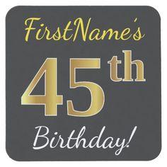 Black, Faux Gold 45th Birthday + Custom Name Square Paper Coaster
