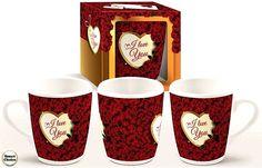 Романтична чаша за кафе с рози - I love you. Модел A-5013  Романтична чаша за кафе с рози и закачлив текст - I love you.  Чашата се предлага в красива цветна кутия. Вместимост - 300 мл. Височина - 9.5 см. Диаметър - 7 см. Материал: Керамика