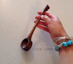 Hand carved Walnut wood coffee spoon.