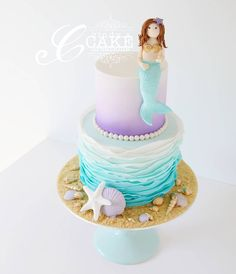 Purple & Turquoise Ombré Ruffle Mermaid Cake
