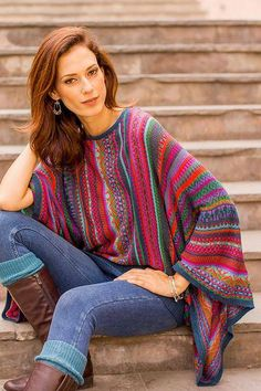 Poncho Sweater, Alpaca Wool, Color Stripes, Kimono Fashion, Comfortable Fashion, Wool Blend, Knitwear, Satin, Sleeves