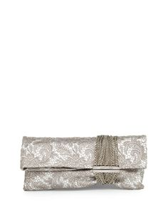 JIMMY CHOO Jimmy Choo. #jimmychoo #bags #lining #clutch #metallic #lace #hand bags #