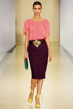 designer Pencil Skirt and Blouse Outfits | Large bags , brightly colored shoes and sandals made with soft or hard ...