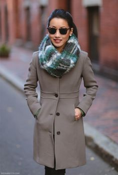 winter outfit // J.Crew lady day coat, Anthropologie scarf, Ray-Ban clubmaster sunglasses