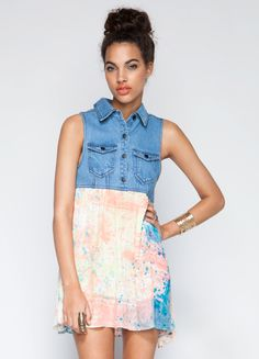Sleevless shirt dress from One Teaspoon featuring denim top and speckle print skirt.
