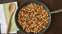 This easy skillet dish is everything we love about a bacon cheeseburger tossed with pasta for a hearty, family-friendly dinner. Steak grill seasoning is a great way to add extra flavor.
