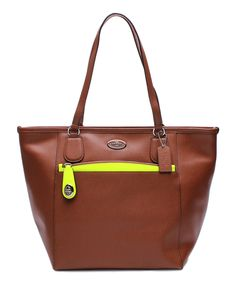 Another great find on #zulily! Coach Saddle & Neon Yellow Taxi Leather Tote by Coach #zulilyfinds