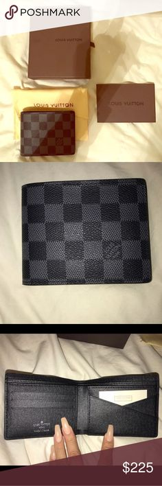 Louis Vuitton men's wallet Louis Vuitton Damier Graphite canvas multiple wallet. Purchased on Craigslist. From what I understand, it's authentic. Bought it for my boyfriend, he ended up buying one for himself before I could give it to him. Trying to get back some money. Louis Vuitton Bags Wallets