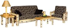 Authentic Pine Log and Cabin Furniture Futons and Loveseats Cabin Furniture, Rustic Furniture, Mexican Furniture, Birch Logs, Southwestern Home, Furniture Collection, Mother Nature, Recliner, Home Accessories