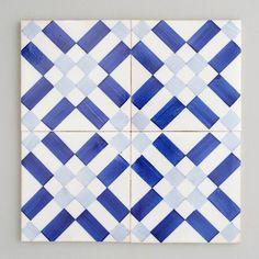 Lisboa tile - handpainted, handmade patterned blue and white tiles from Everett and Blue