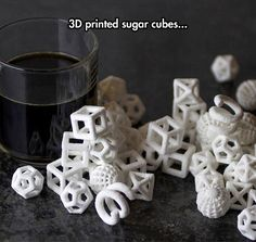3D printed sugar cubes. Very cool.