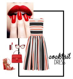 """""""Cocktail dress in Red Leather #redleathercontest"""" by mollyhatch on Polyvore featuring Dolce&Gabbana, Aquazzura, Miu Miu, Maybelline and redleathercontest"""
