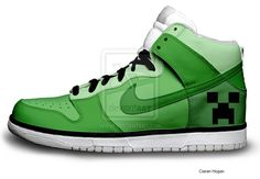 Creeper Nike Dunks (Minecraft) by Houggiebear on DeviantArt Minecraft Shoes, Minecraft Outfits, Creeper Minecraft, Minecraft Clothes, Minecraft Buildings, Minecraft Halloween Ideas, Minecraft Bedroom Decor, Minecraft Furniture, Minecraft Accessories