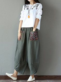 Gracila Casual Print Patchwork Elastic Loose Irregular Pants For Women