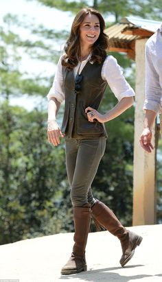 Easy as you like: The Duchess chose to wear a leather jerkin and knee-length leather boots for the arduous, rocky climb