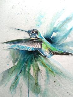 Original watercolor painting of a beautiful hummingbird in flight. A3 size paper. Embellished with genuine gold leaf. Watercolours, Watercolor Paintings, Multimedia Arts, A3 Size, Gold Leaf, Gouache, Hummingbird, Waves, Birds