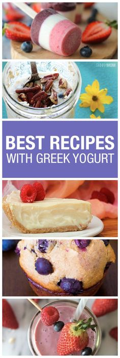 Healthy Dessert Ideas: Here are some of our favorite recipes using Greek yogurt! - All Fitness Vegetarian Recipes Easy, Snack Recipes, Dessert Recipes, Cooking Recipes, Healthy Recipes, Healthy Options, Kraft Recipes, Vegan Meals, Healthy Treats