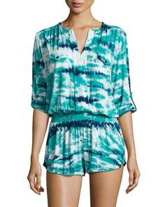 Malik Tie-Dye Tab-Sleeve Romper, Green/Navy by Young Fabulous and Broke at Neiman Marcus Last Call. Navy Shop, Young Fabulous And Broke, Last Call, Rompers Women, Fashion Tips, Fashion Design, Fashion Trends, Fashion Ideas, Clearance Sale