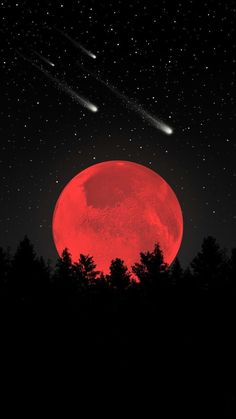 Amazing blood red moon with stars shooting in the sky, a cool wallpaper for your Tumblr Wallpaper, Galaxy Wallpaper, Screen Wallpaper, Blood Wallpaper, Dark Wallpaper, Mobile Wallpaper, Cool Wallpapers For Your Phone, Cute Wallpapers, Iphone Wallpapers