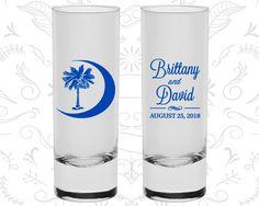 Palmetto Tree Shooters, Wedding Tall Shot Glasses, Crescent Moon, South Carolina Palmetto, Palmetto Moon, Wedding Shooters (78)