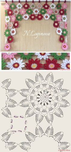 "Ламбрекен на кухонное окно от Наталья Deniz [ ""Crochet flower window ornament by tamara"" ] # # # # # # # # # Filet Crochet, Crochet Motifs, Crochet Flower Patterns, Crochet Diagram, Crochet Chart, Crochet Squares, Irish Crochet, Crochet Designs, Crochet Doilies"