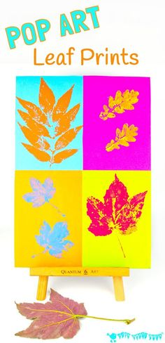 "Kids will love making vibrant leaf art with this POP ART LEAF PRINTING technique. It takes a classic leaf prints painting activity from ""meh' to ""WOW!"" A fabulous Fall craft for kids."