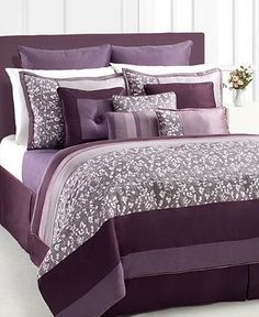 52 Trendy Bedroom Ideas Purple And Grey Bed Sets Purple Master Bedroom, Purple Bedrooms, Bedroom Colors, Purple Bedding Sets, Comforter Sets, Purple Comforter, Woman Bedroom, Bedroom Bed, Bed Room