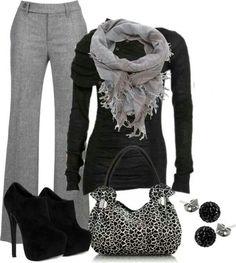 Não sei se inteiro cinza e preto (bem chique), mas utilizar cores para usar durante dia.